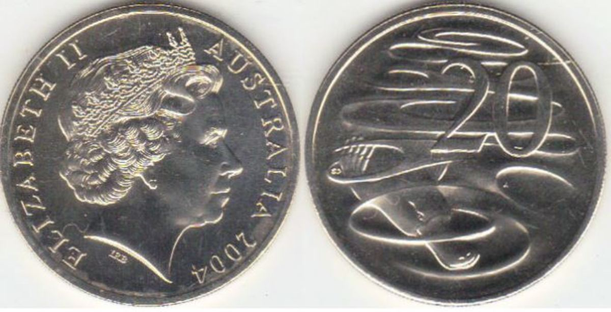 Australia 2004 20-cent coins with a larger head of Queen Elizabeth II are among the rarities still being found in circulation.