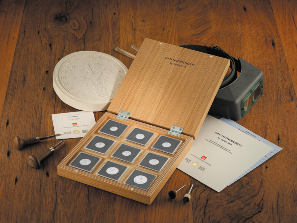 A beautiful wood case tops off this scarce 2021 set of .999 fine silver proof strikes of the circulating coins of Croatia.