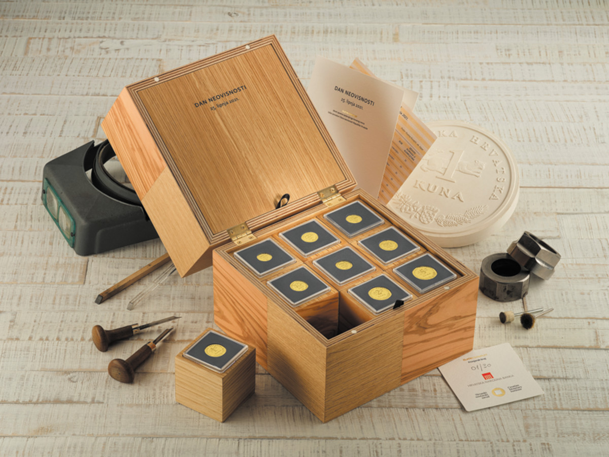 Modeled after a treasure chest, the 2021 30th Anniversary of Croatian Independence .9999 fine gold proof set stands alone in size and stature, reflecting its rarity of 30 pieces.