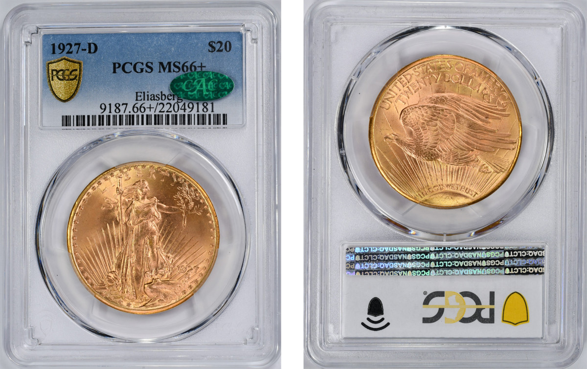 The second-finest known, this 1927-D Saint-Gaudens double eagle graded PCGS MS-66+ CAC was sold to a collector for nearly $3.1 million. (Images courtesy Witter Coin.)