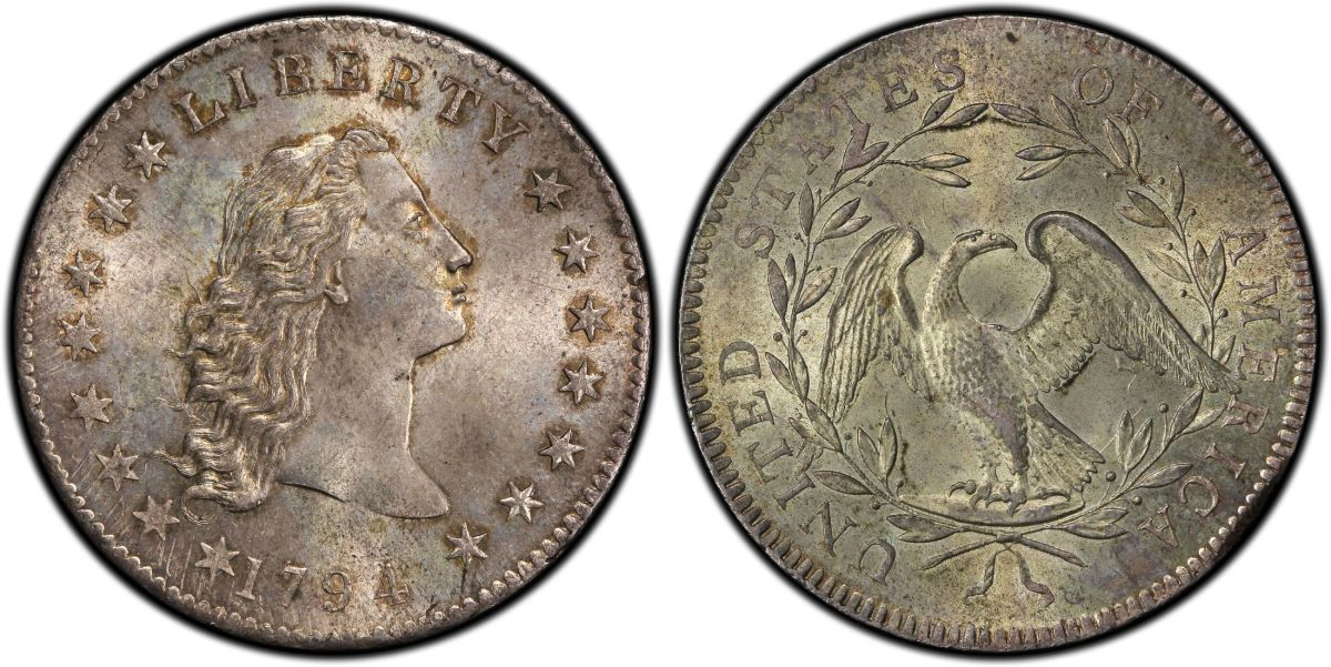 1794 Flowing Hair dollar, PCGS MS-66+ CAC, purchased on behalf of a client by GreatCollections for a record $6.6 million. (Photo courtesy Professional Coin Grading Service.)