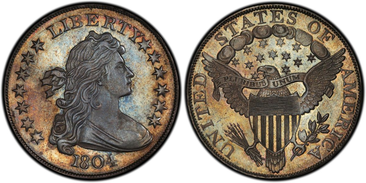 1804 Class I Original Draped Bust dollar, PCGS Proof-68 and the finest known of its kind, acquired for a client by GreatCollections for $7.68 million. (Photo courtesy Professional Coin Grading Service.)