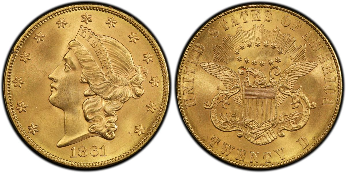 Graded PCGS MS-67 CAC and acquired for a GreatCollections client for $7.2 million, this is the finer of only two known 1861 Paquet Reverse double eagles. (Photo credit courtesy Professional Coin Grading Service.)