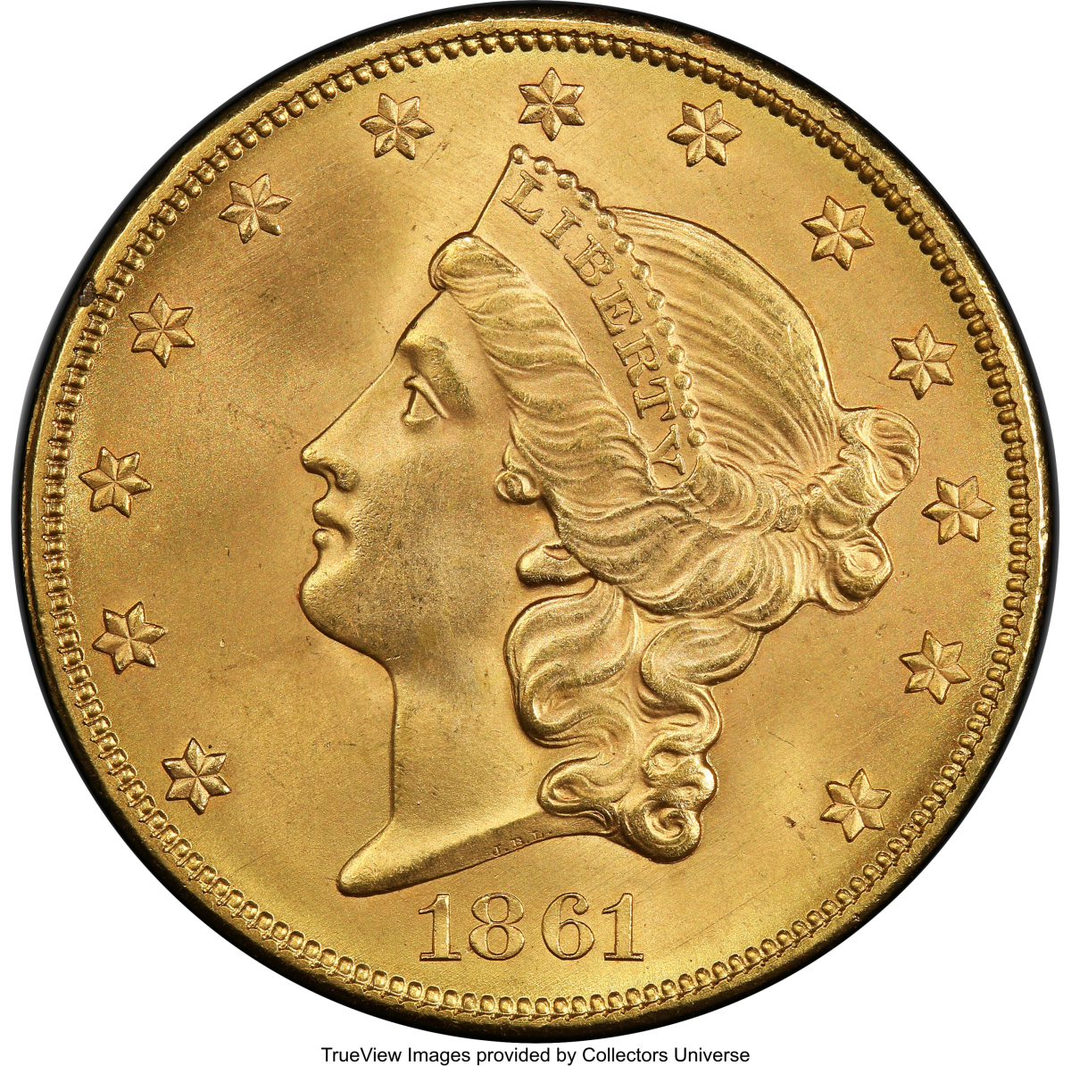 1861 Paquet Double Eagle, MS67, CAC_Heritage_Auctions