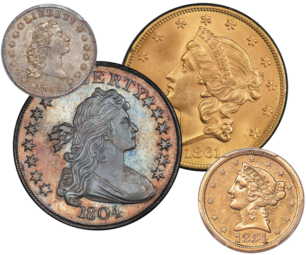 (Images courtesy Heritage Auctions. 1804 silver dollar image courtesy Stack's Bowers Galleries.)