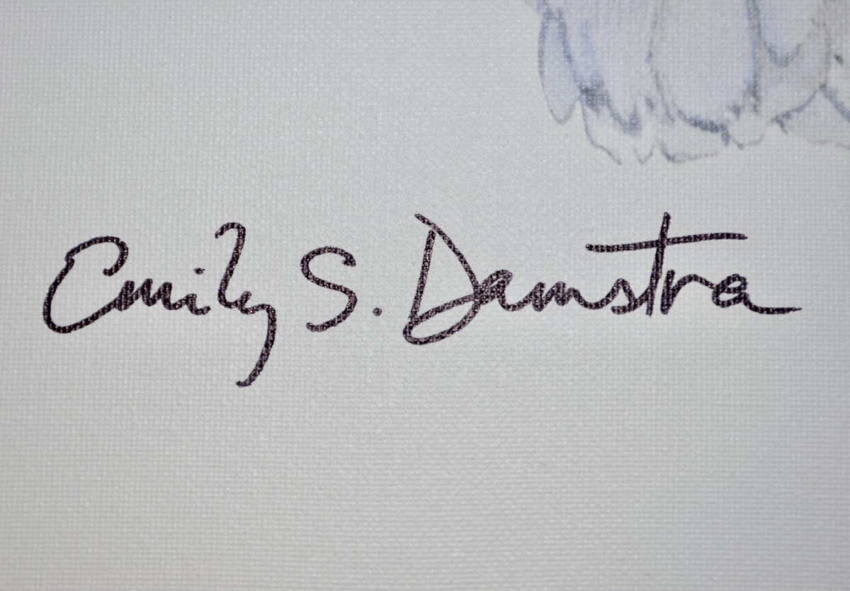 Close-up of Emily Damstra autograph on artwork-DP
