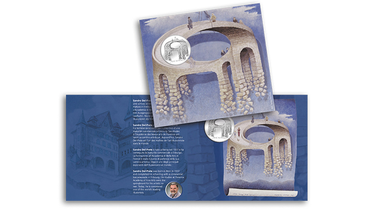 The Illusion Bridge card cover packaging offers a view of the original painting on which the 20 Francs coin was based.