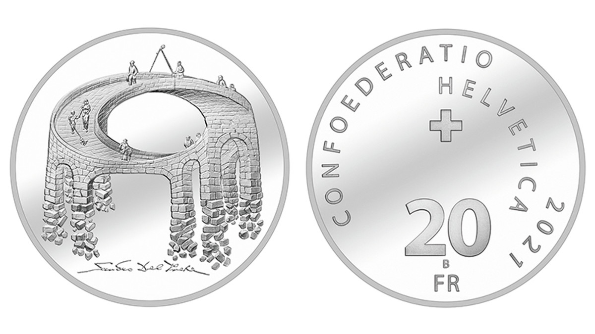 A coin with a perspective, the Illusion Bridge 20 Francs teaches a fine lesson of life – no one gets younger and the past remains out of sight behind us as we progress forward in life.