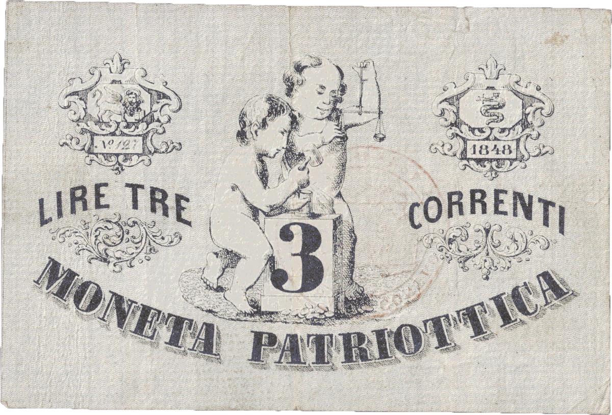 Venice (San Marco) 3 lire note of 1848