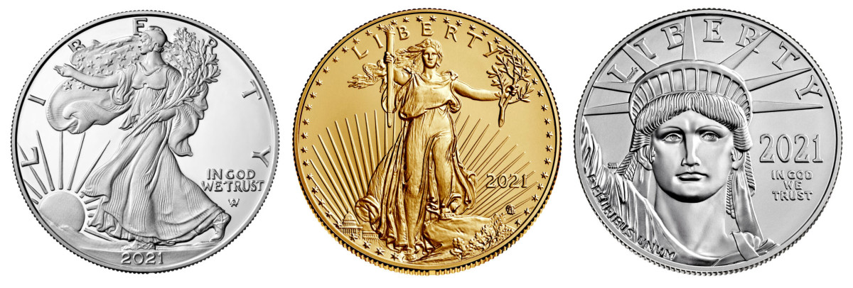 From left: 2021 American Eagle silver, gold and platinum. (Images courtesy United States Mint.)