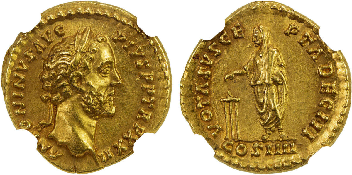 ROMAN EMPIRE: Antoninus Pius, 138-161 AD, AV aureus, Rome, 158-159 AD, laureate bust right, ANTONINVS AVG PIVS P P TR P XXII // emperor standing left, togate and veiled, dropping incense onto lighted tripod with his right hand and holding volumen in his left, VOTA SVSCE-PTA DEC III / COS IIII. A fantastic strike with lovely highlights.