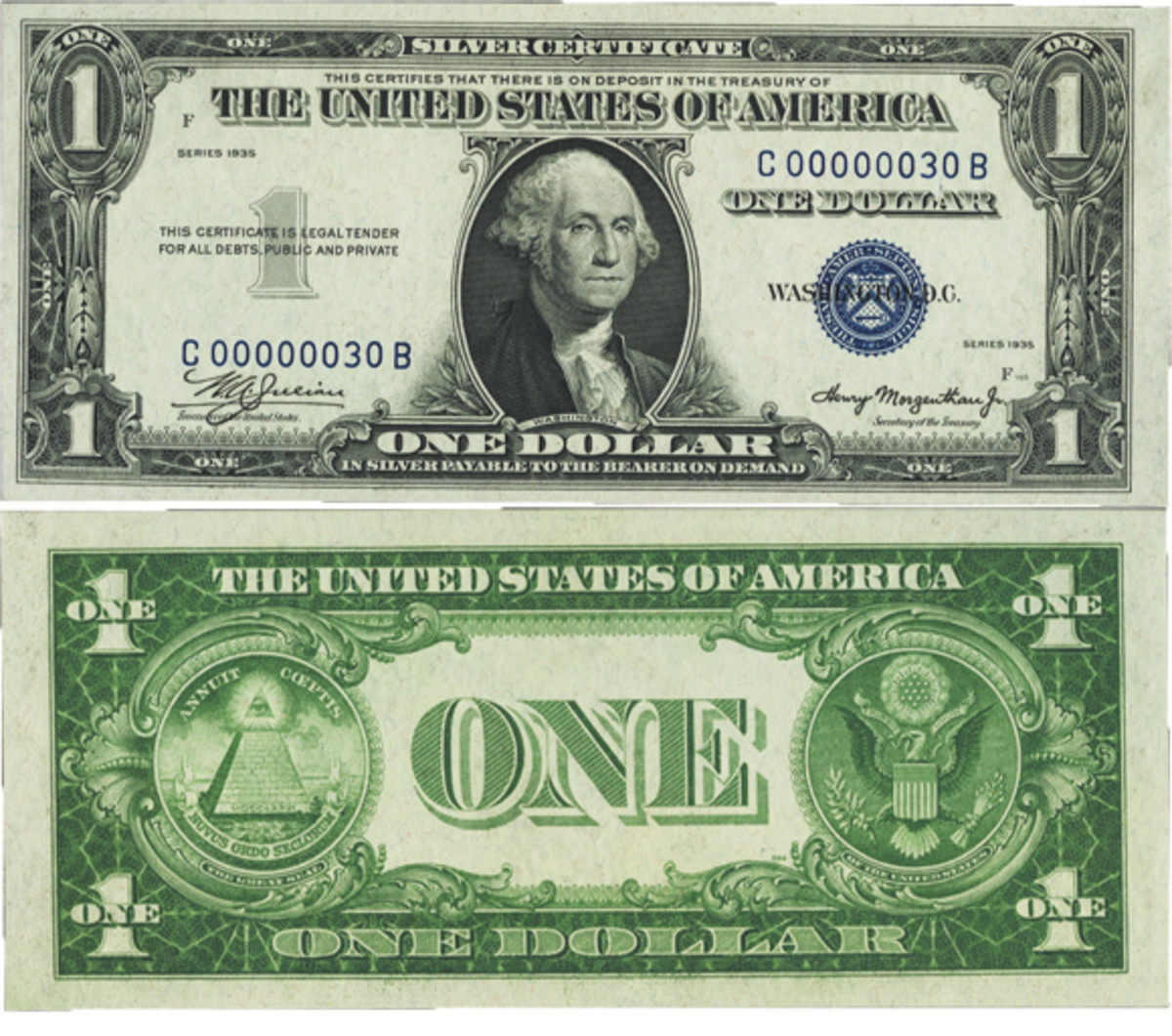 Low Serial Number 30 Fr. 1607 $1 1935 Silver Certificate. PMG Choice Uncirculated 64 EPQ.