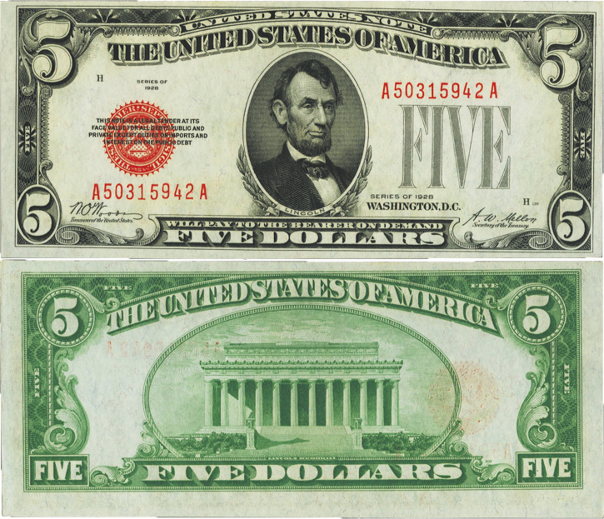 Fr. 1525 $5 1928 Legal Tender Note. PMG Choice Uncirculated 63 EPQ.