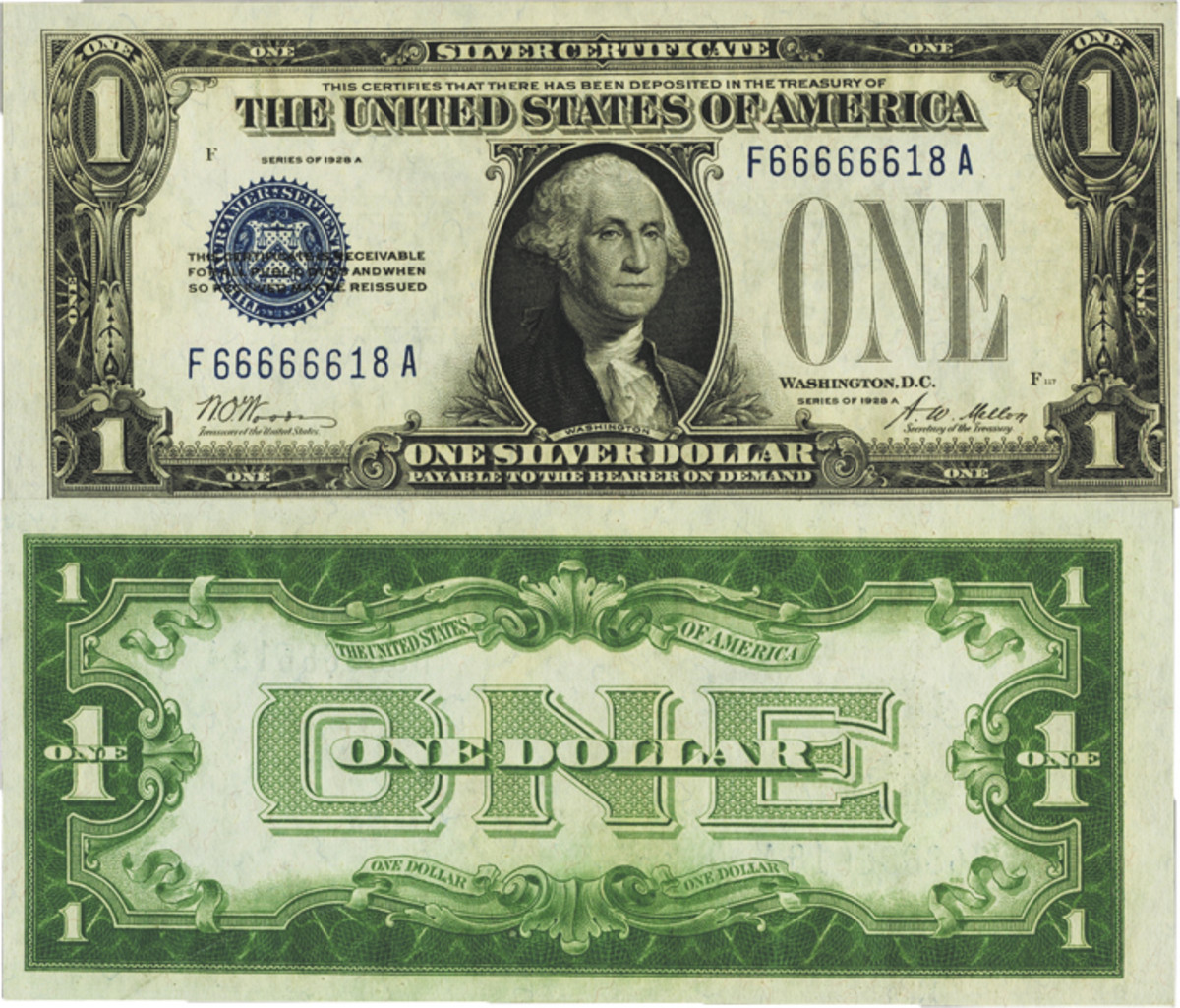 Fancy Serial Number 66666618 Fr. 1601 $1 1928A Silver Certificate. PMG Choice Uncirculated 63.