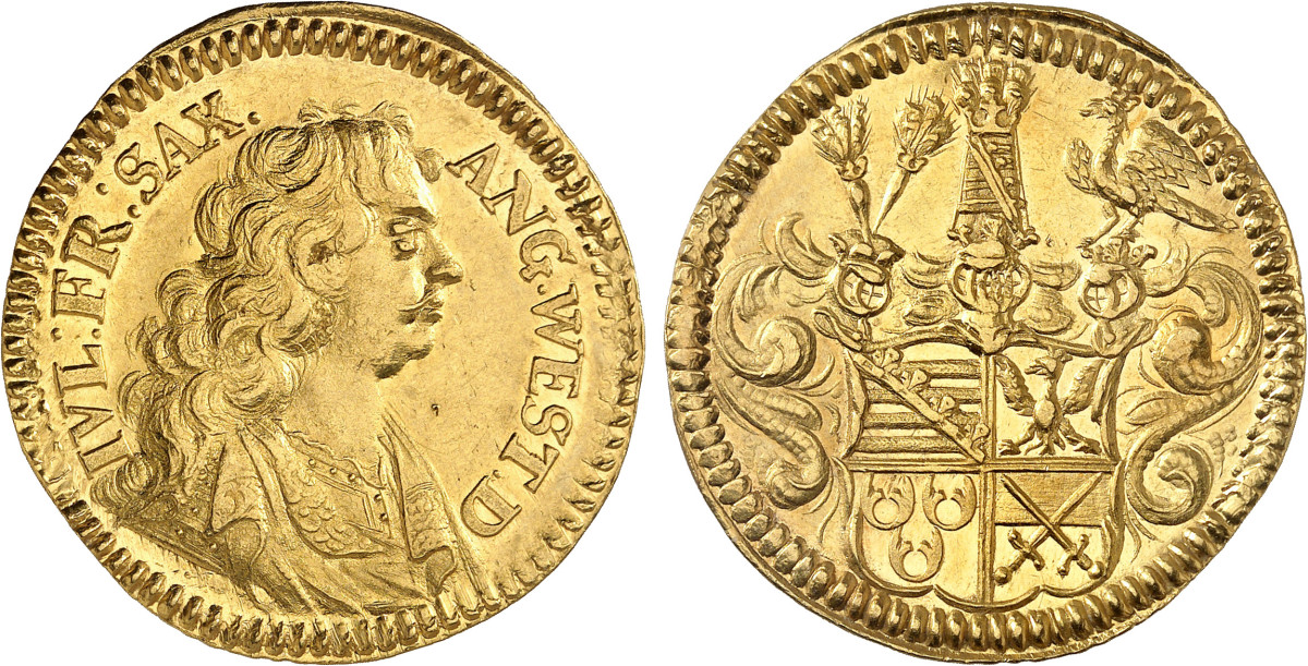 A sharply struck double ducat of Lauenburg, produced for Julius Franz in 1678, this coin came from the Hermann Schwarz Collection and was purchased in 1935 at Julius Jenke in Munich. It's extremely rare and grades extremely fine and is estimated to sell for about $23,650.
