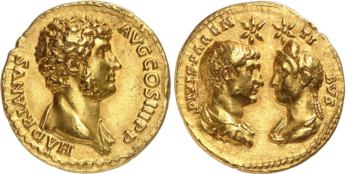 Lot 364 of Auction 351 offers this beautiful aureus of Hadrian struck in 137 or 138 near the end of his rule. It's very rare, about extremely fine and estimated to sell for about $118,000.