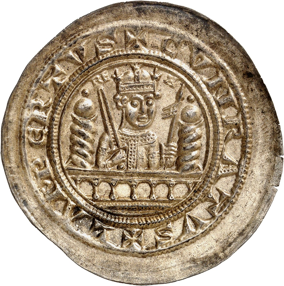 Lot 5811 in Auction 354 brings us this unique bracteates of Mühlhausen / Thuringia struck under Conrad III, 1138-1152. It's estimated at about $35,500, but who really knows what it may bring in such gorgeous FDC condition.