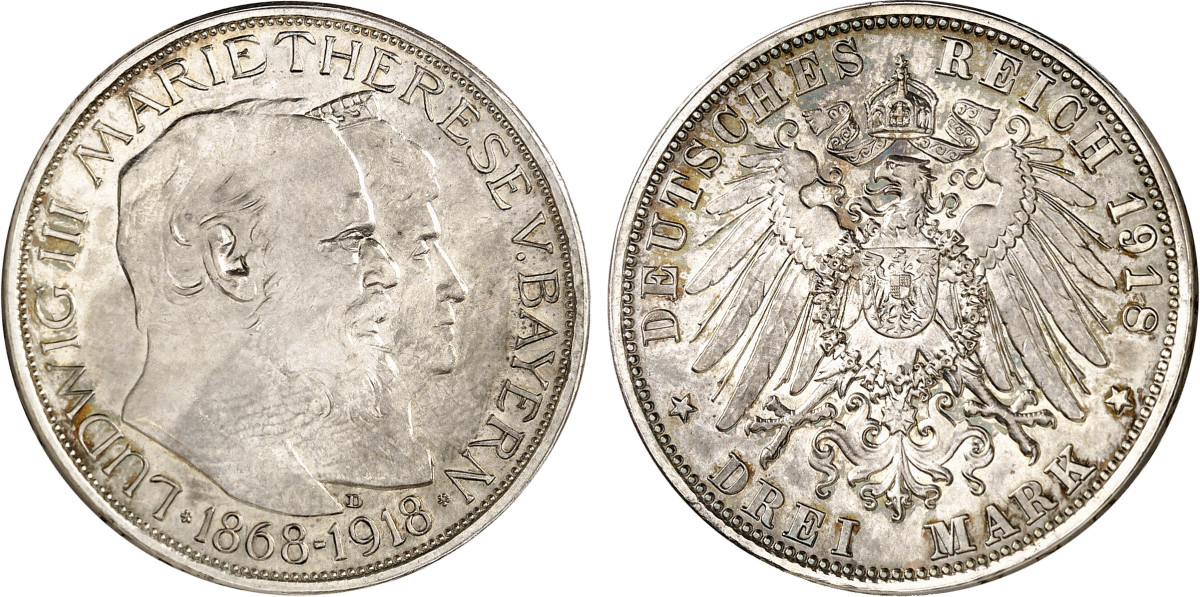"""Lot 2198 of Auction 352 offers a lovely example of the Ludwig III """"Golden Wedding Anniversary"""" 3 marks of Bavaria from 1918. This is a tough 20th century rarity and in extremely fine. Künker estimates it at close to $30,000."""