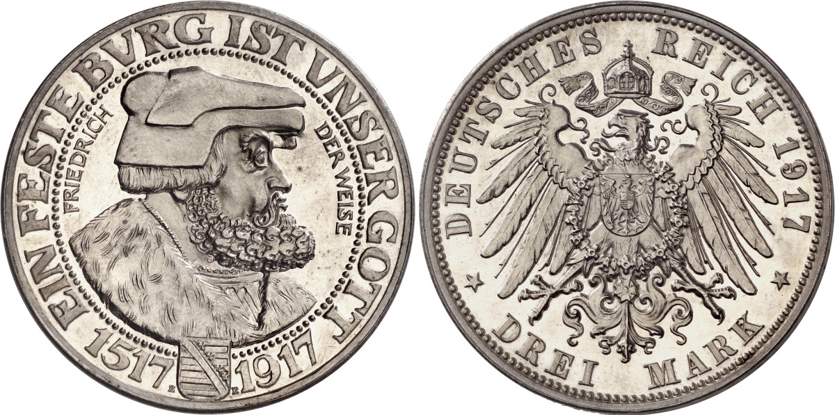 """A rare proof strike of the """"Frederick the Wise"""" 3 marks of 1917. This is one of several modern German rarities in Auction 354. This little silver gem of Saxony is estimated at $118,000."""