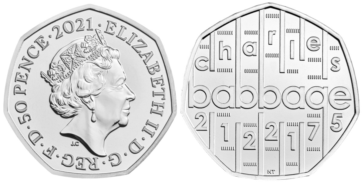 The newest coin in the Royal Mint's Innovation in Science series honors inventor Charles Babbage in a deceptively complex, but simple looking design.