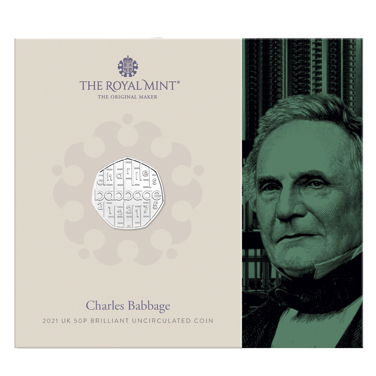 An image of the inventor Charles Babbage is featured on the brilliant uncirculated coin folder packaging, available today at the Royal Mint website for $12.00.
