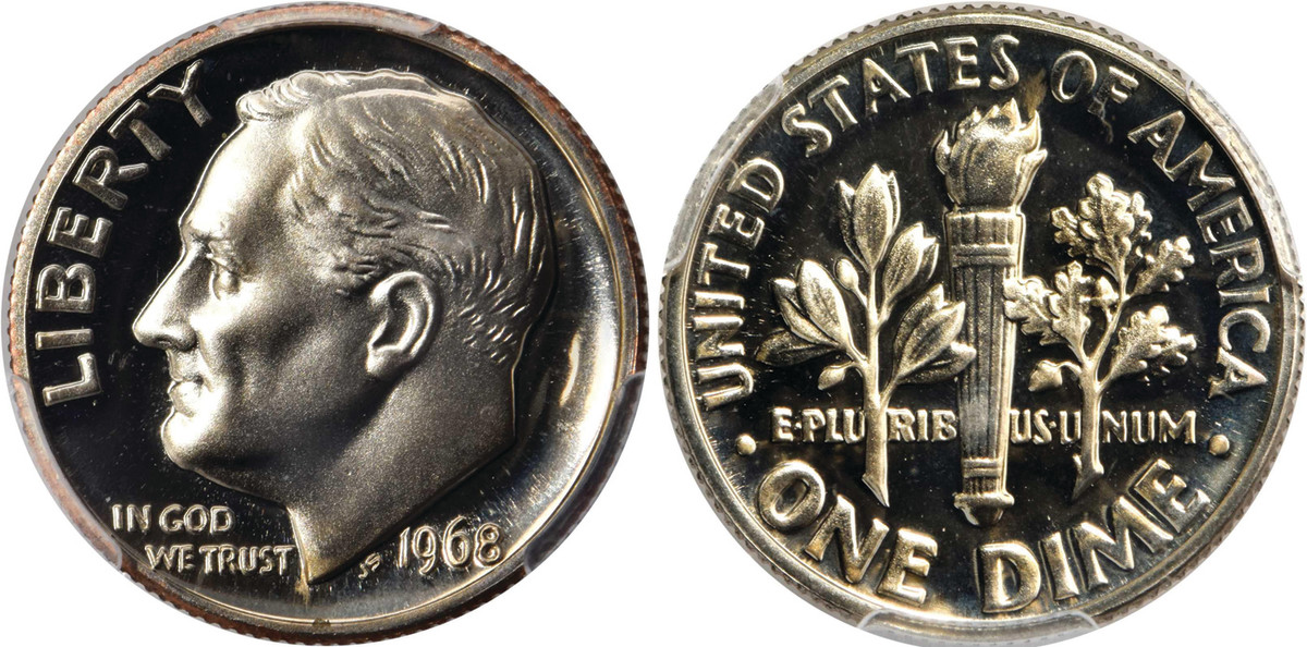 1968 Roosevelt dime with no S.