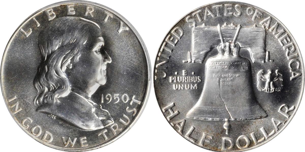 1950 Franklin half dollar.
