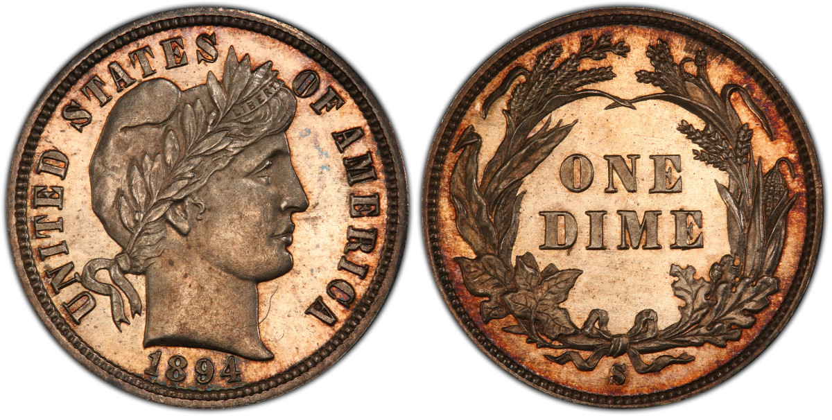 This Eliasberg provenance 1894-S dime, graded PCGS PR-65+ CAC, is now in the collection of Bruce Morelan after being acquired for him by Legend Numismatics for $1.8 million, a record price for this particular example. (Photo courtesy Professional Coin Grading Service.)