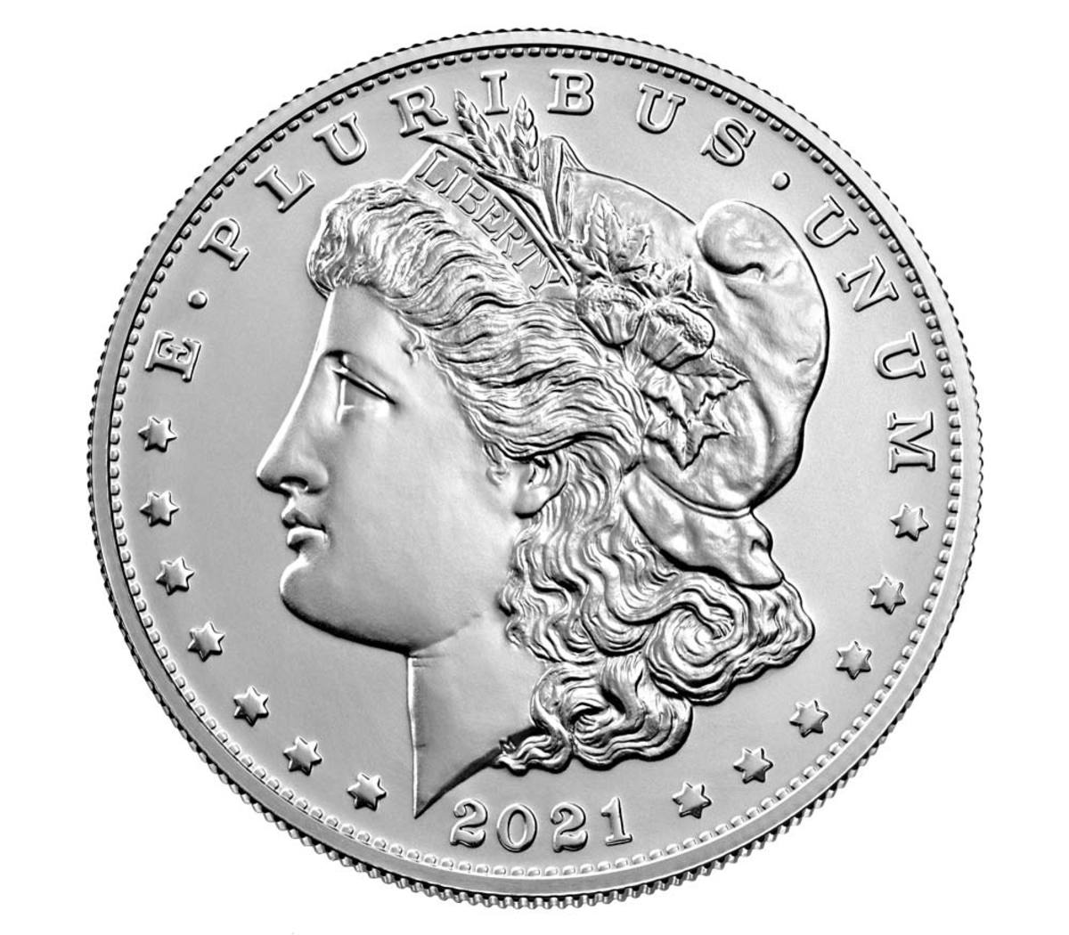 """Obverse of 2021 silver Morgan dollar with """"CC"""" privy mark, genuine example. (Image courtesy United States Mint.)"""